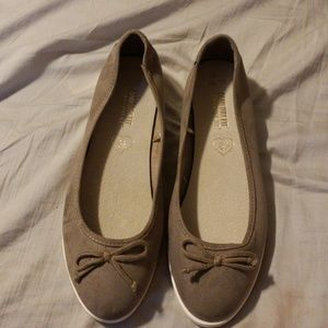 Greyish tan flats, never worn!